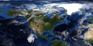 Extrem ausführliche und realistische Illustration 3D eines Hurrikans, der Nordamerika sich nähert Geschossen vom Raum Elemente di stockfotos