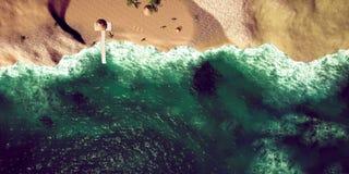 Extrem ausführliche und realistische Illustration der hohen Auflösung 3D des tropischen Strandes lizenzfreies stockfoto