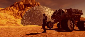 Extrem ausführliche und realistische Illustration der hohen Auflösung 3d einer Kolonie beschädigt an wie Planet Elemente dieses B stock abbildung