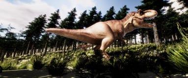 Extrem ausführliche und realistische Illustration der hohen Auflösung 3d eines Dinosauriers T-Rex Tyranno Saurus im Wald lizenzfreie abbildung