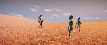 Extrem ausführliche und realistische Illustration der hohen Auflösung 3d Martian Landscapes lizenzfreie stockfotografie