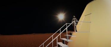 Extrem ausführliche und realistische Illustration der hohen Auflösung 3d Martian Landscapes stockbild