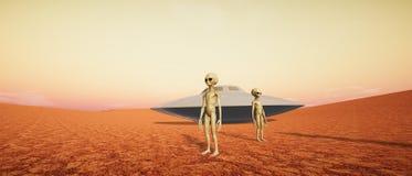 Extrem ausführliche und realistische Illustration der hohen Auflösung 3d Martian Landscapes stockbilder