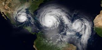 Extrem ausführliche und realistische Illustration der hohen Auflösung 3d von 3 Hurrikanen, die den Karibikinseln und dem Florida  lizenzfreie abbildung