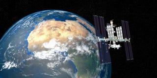 Extrem ausführliches und realistisches Bild der hohen Auflösung 3D der umkreisenden Erde ISS-internationaler Weltraumstation scho Stockfotos