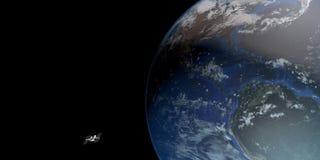 Extrem ausführliches und realistisches Bild der hohen Auflösung 3D einer umkreisenden Satellitenerde Geschossen vom Raum Lizenzfreie Stockfotografie