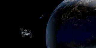 Extrem ausführliches und realistisches Bild der hohen Auflösung 3D einer umkreisenden Satellitenerde Geschossen vom Raum Stockbild