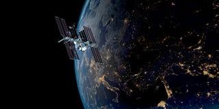 Extrem ausführliches und realistisches Bild der hohen Auflösung 3D einer umkreisenden Satellitenerde Geschossen vom Raum Lizenzfreies Stockbild