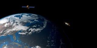 Extrem ausführliches und realistisches Bild der hohen Auflösung 3D einer umkreisenden Satellitenerde Geschossen vom Raum Lizenzfreie Stockbilder
