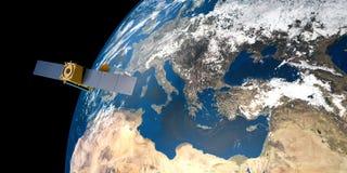Extrem ausführliches und realistisches Bild der hohen Auflösung 3D einer umkreisenden Satellitenerde Geschossen vom Raum Lizenzfreies Stockfoto