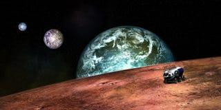Extrem ausführliches und realistisches Bild der hohen Auflösung 3D von ein Exoplanet mit einem Raumforschungs-Fahrzeug Geschossen stockfotografie