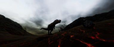 Extrem ausführliches und realistisches illustratation der hohen Auflösung 3d eines T-Rexdinosauriers während der Dinosaurier-Lösc stock abbildung