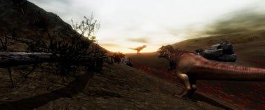 Extrem ausführliches und realistisches illustratation der hohen Auflösung 3d eines T-Rexdinosauriers während der Dinosaurier-Lösc stockbilder