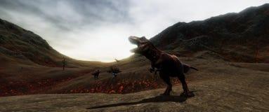 Extrem ausführliches und realistisches illustratation der hohen Auflösung 3d eines T-Rexdinosauriers während der Dinosaurier-Lösc stockfotografie