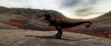 Extrem ausführliches und realistisches illustratation der hohen Auflösung 3d eines T-Rexdinosauriers während der Dinosaurier-Lösc lizenzfreie stockfotos