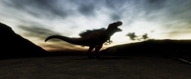 Extrem ausführliches und realistisches illustratation der hohen Auflösung 3d eines T-Rexdinosauriers während der Dinosaurier-Lösc lizenzfreie stockfotografie