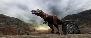 Extrem ausführliches und realistisches illustratation der hohen Auflösung 3d eines T-Rexdinosauriers während der Dinosaurier-Lösc stockfoto