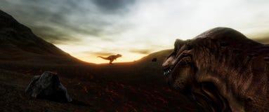 Extrem ausführliches und realistisches illustratation der hohen Auflösung 3d eines T-Rexdinosauriers während der Dinosaurier-Lösc lizenzfreies stockfoto