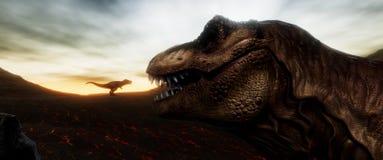 Extrem ausführliches und realistisches illustratation der hohen Auflösung 3d eines T-Rexdinosauriers während der Dinosaurier-Lösc lizenzfreie stockbilder