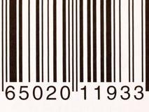 Extrem closeup av en barcode på en vit bakgrund Fotografering för Bildbyråer