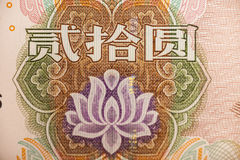 Extrem der Blume in Chinese-Yuan-Banknote stockfotografie