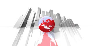 Extrem focal skyline with globe Royalty Free Stock Image