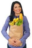 Extrem glückliche Frau mit Nahrung Lizenzfreies Stockbild