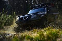 Extrem, Herausforderung und Allradfahrzeugkonzept Rennen nicht für den Straßenverkehr auf Naturhintergrund Autorennen im Wald SUV stockfoto