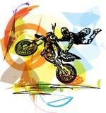 Extrem motocrossracerbil med motorcykeln Arkivfoton