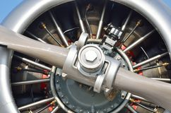 Extrem nah oben vom Flugzeugmotor Lizenzfreie Stockfotos