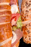 Extrem nah oben von den Sandwichen stockbild