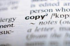 Extrem nah oben von der englischen Wörterbuchseite mit Wort Co Stockbild