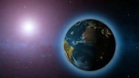 extrem realistische Erde 3d mit Stadtlicht/-kugel/-welt/-sonne stock video footage