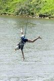 Extrem ropejumping Arkivbild