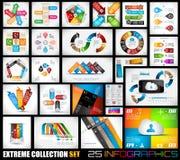 Extrem samling av 25 kvalitet Infographics stock illustrationer