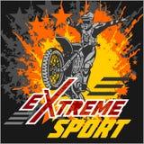 Extrem sport för vektor - motoemblem stock illustrationer