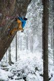 Extrem vintersport Vagga klättrareklättringen i härligt stenigt område arkivfoton