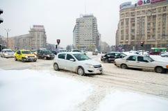 Extrema snowfall - trafikstockning Arkivbild