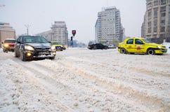 Extrema snowfall - trafikstockning Arkivfoto