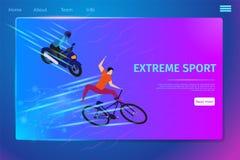Extrema sportaktivitetsbaner, cyklist och Motobiker stock illustrationer