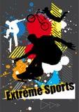 Extrema sportar skateboarder och cykel med sprejdiagrammet Stock Illustrationer