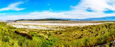 Extremadamente - nivel del agua baja en la presa de Theewaterkloof que es una fuente importante para el abastecimiento de agua a  Foto de archivo libre de regalías