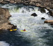 Extremal foldboating at a falls. Stock Photography