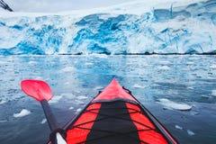 Free Extreme Adventure Sport, Antarctica Kayaking, Paddling On Kayak Between Antarctic Icebergs Stock Photo - 211252370