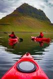 Extreme adventure sport, Iceland kayaking, paddling on kayak, ou. Tdoors activity stock image