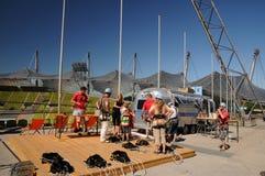 Extreme Anziehungskraft im olympischen Stadion. Lizenzfreies Stockfoto