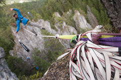 Extreme athlete at the slackline Royalty Free Stock Photography