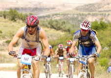 Extreme-Bardenas bike ride Royalty Free Stock Photos