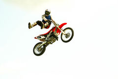 extreme bike jump at the trial show. Motorcycle acrobatic jump at the trial show see my portfolio for more Royalty Free Stock Images