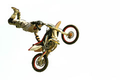 extreme bike jump at the trial show. Motorcycle acrobatic jump at the trial show see my portfolio for more Stock Image